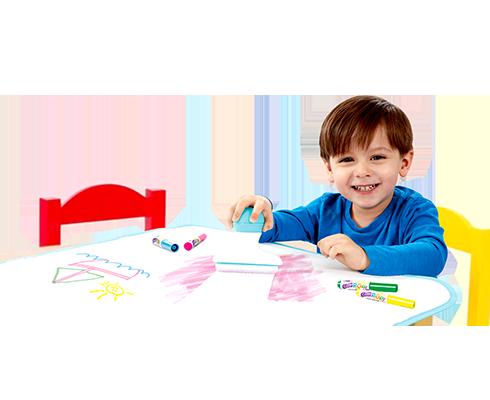 child erasing work using colour eraser